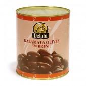 """Delphi маслины """"Каламата"""" COLOSSAL 121/140 c п/o Пелопоннес в рассоле 3000г жесть"""