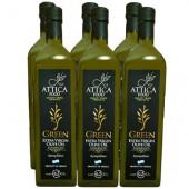 Attica Food оливковое масло GREEN Extra Virgin нефильтрованное 0,2% 6штх1л стекло (1шт=802р)