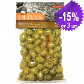 Ilida зеленые оливки с орегано и пеперони 250г вакуум