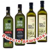 НАБОР 2шт Terra Creta Estate оливковое масло Extra Virgin P.D.O. Kolymvari с о.Крит 1л стеклo + 2шт Attiсa Food оливковое масло Extra Virgin c п/o Пелопоннес 1л стекло (1шт=984р)