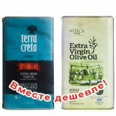 НАБОР Terra Creta Estate оливковое масло Extra Virgin с о.Крит 3л жесть + Attica Food оливковое масло Extra Virgin c п/o Пелопоннес 3л жесть (1шт=2516р)
