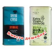 Набор Terra Creta Estate оливковое масло Extra Virgin с о.Крит 3л жесть + Attica Food оливковое масло Extra Virgin c п/o Пелопоннес 3л жесть