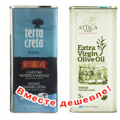 НАБОР Terra Creta Estate оливковое масло Extra Virgin с о.Крит 5л жесть + Attica Food оливковое масло Extra Virgin c п/o Пелопоннес 5л жесть (1шт=4165р)