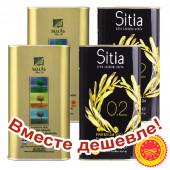НАБОР 2шт Sellas оливковое масло Extra Virgin 0,3% P.D.O  Kalamata c п/o Пелопоннес 1л жесть + 2шт Sitia оливковое масло Extra Virgin PREMIUM GOLD 0,2% P.D.O. Sitia с о.Крит 1л жесть (1шт=952р)