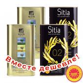 НАБОР 2шт Sellas оливковое масло Extra Virgin 0,3% P.D.O  Kalamata c п/o Пелопоннес 1л жесть + 2шт Sitia оливковое масло Extra Virgin PREMIUM GOLD 0,2% P.D.O. Sitia с о.Крит 1л жесть (1шт=913р)
