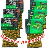 НАБОР 3шт Ilida зеленые оливки с орегано 250г вакуум + 3шт Astir зеленые оливки 250г вакуум (1шт=223р)