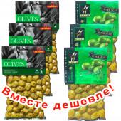 НАБОР 3шт Ilida зеленые оливки с орегано 250г вакуум + 3шт Astir зеленые оливки 250г вакуум (1шт=259р)
