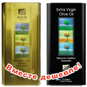 НАБОР Sellas оливковое масло Extra Virgin 0,3% P.D.O. Kalamata c п/o Пелопоннес 5л жесть + Sellas оливковое масло Extra Virgin 0,3% c п/o Пелопоннес 5л жесть (1шт=4037р)