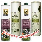 НАБОР 2шт Minerva оливковое масло Extra Virgin Kalamata P.D.O. c п/o Пелопоннес 750мл жесть + 2шт Agia Triada Монастырское оливковое масло Extra Virgin Organic (Bio) с о.Крит 750мл жесть (1шт=935p)