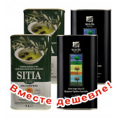 НАБОР 2шт Sitia оливковое масло Extra Virgin 0,3% P.D.O. Sitia с о.Крит 1л жесть + 2шт Sellas оливковое масло Extra Virgin 0,3%  c п/o Пелопоннес 1л жесть (1шт=889р)