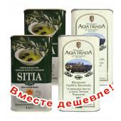 НАБОР 2шт Sitia оливковое масло Extra Virgin 0,3% P.D.O. Sitia с о.Крит 1л жесть + 2шт Agia Triada Монастырское оливковое масло Extra Virgin с о.Крит 1л жесть (1шт=914р)