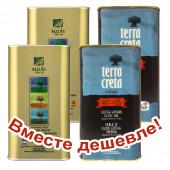 НАБОР 2шт Sellas оливковое масло Extra Virgin 0,3% P.D.O  Kalamata c п/o Пелопоннес 1л жесть + 2шт Terra Creta Estate оливковое масло Extra Virgin с о.Крит 1л жесть (1шт=973р)