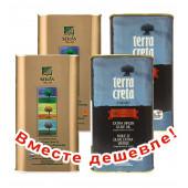 НАБОР 2шт Sellas оливковое масло Extra Virgin 0,3% P.D.O  Kalamata c п/o Пелопоннес 1л жесть + 2шт Terra Creta Estate оливковое масло Extra Virgin с о.Крит 1л жесть (1шт=960р)