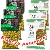 НАБОР 3шт Ilida зеленые оливки с орегано 250г вакуум + 3шт Just Greece зеленые оливки ''Эгейские'' 250г вакуум (1шт=221р)