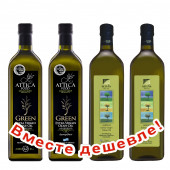 НАБОР 2шт Attica Food оливковое масло GREEN Extra Virgin нефильтрованное 0,2% с п/о Пелопоннес 1л стекло + 2шт Sellas оливковое масло GREEN Extra Virgin нефильтрованное 0,2% с п/о Пелопоннес 1л стекло (1шт=952р)