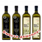 НАБОР 2шт Attica Food оливковое масло GREEN Extra Virgin нефильтрованное 0,2% с п/о Пелопоннес 1л стекло + 2шт Attiсa Food оливковое масло Extra Virgin c п/o Пелопоннес 1л стекло (1шт=965р)