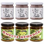 НАБОР 3шт Attica Food паста из черных маслин 180г стекло + 3шт Delphi паста из зеленых оливок 190г стекло (1шт=193р)
