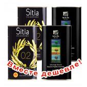 НАБОР 2шт Sitia оливковое масло Extra Virgin PREMIUM GOLD 0,2% P.D.O. Sitia с о.Крит 1л жесть + 2шт Sellas оливковое масло Extra Virgin 0,3% c п/o Пелопоннес 1л жесть (1шт=913р)