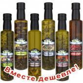 НАБОР: Cretan Taste оливковое масло Extra Virgin с о.Крит 250мл стекло: с травами для салата, с травами для барбекю, с чесноком, с травами для рыбы, с травами для курицы, с перцем чили (1шт=437р)