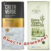 НАБОР Creta Verde оливковое масло Extra Virgin P.D.O. Kolymvari с о.Крит 5л жесть + Attica Food оливковое масло Extra Virgin c п/o Пелопоннес 5л жесть (1шт=4016р)