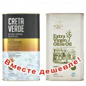 НАБОР Creta Verde оливковое масло Extra Virgin P.D.O. Kolymvari с о.Крит 3л жесть + Attica Food оливковое масло Extra Virgin c п/o Пелопоннес 3л жесть (1шт=2491р)