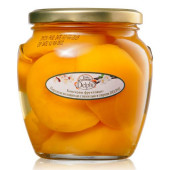 Персики половинки с ванилью в сиропе, Delphi 550г стекло