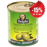 Delphi зеленые oливки SUPER MAMMOUTH 91/100 в рассоле 820г жесть