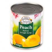 Delphi половинки персиков в легком сиропе 820г жесть