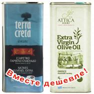 НАБОР Terra Creta Estate оливковое масло Extra Virgin с о.Крит 5л жесть + Attica Food оливковое масло Extra Virgin c п/o Пелопоннес 5л жесть (1шт=4037р)