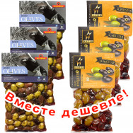 """НАБОР 3шт Ilida микс оливок и маслин """"Kalamata"""" с орегано 250г вакуум + 3шт Astir ассорти оливок традиционное 250г вакуум (1шт=272р)"""