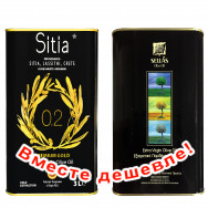НАБОР Sitia оливковое масло Extra Virgin PREMIUM GOLD 0,2% P.D.O. Sitia с о.Крит 3л жесть + Sellas оливковое масло Extra Virgin 0,3% c п/o Пелопоннес 3л жесть (1шт=2643р)