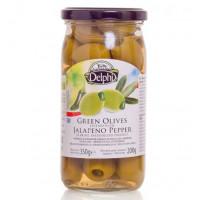 Delphi зеленые оливки фаршированные перцем Джалапено в рассоле 350г стекло