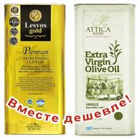 НАБОР Lesvos gold P.G.I. оливковое масло Extra Virgin PREMIUM с о.Лесбос 5л жесть + Attiсa Food оливковое масло Extra Virgin c п/o Пелопоннес 5л жесть (1шт=4526р)
